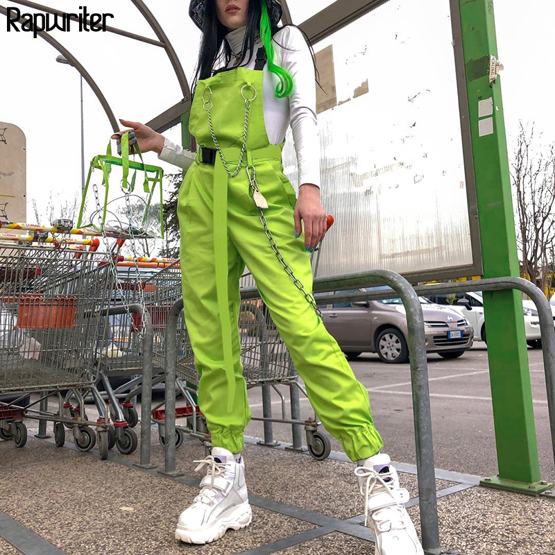 Rapwriter Streetwear Harajuku Korean Women Overalls Women 2019 Summer Neon Green Cotton Capri High Waist With Chain Pocket