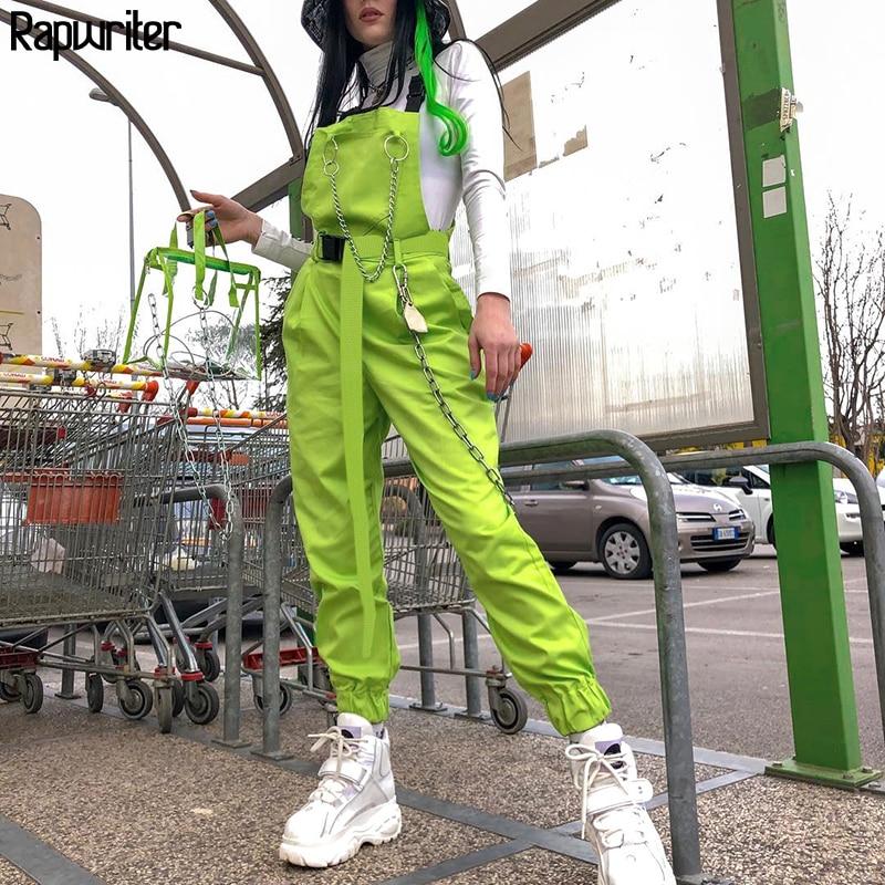 Rapwriter Streetwear Harajuku Korean Women Overalls Women 2019 Summer Neon Green Cotton Capri High Waist With Chain Pocket