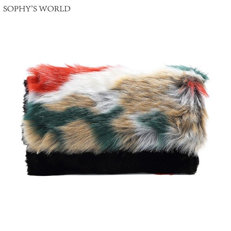 New 2017 winter faux fur women handbag patchwork day clutches purse bolsa fashion color fur strap women shoulder bag