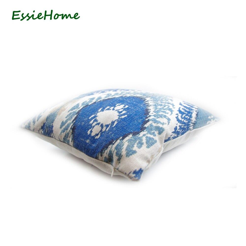 ESSIE HOME Haut de gamme Impression de main Bleu clair Motif Ikat - Textiles de maison - Photo 4