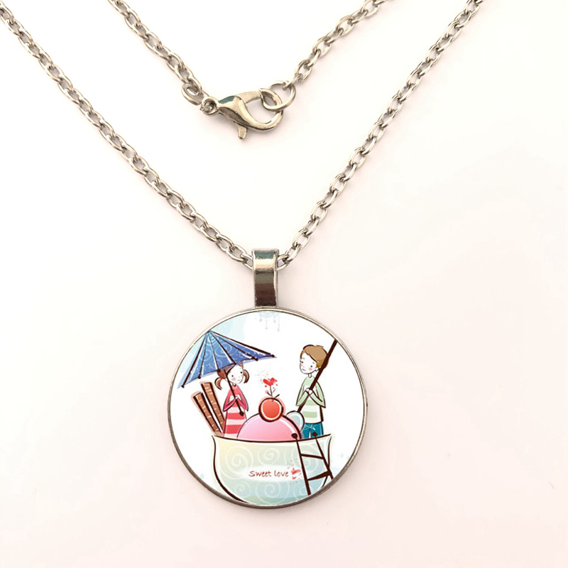 2019 style new Cartoon pattern Necklace Glass Dome Pendant Necklaces fashion women Jewelry Gifts in Pendant Necklaces from Jewelry Accessories
