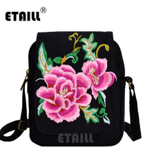 ETAILL Vintage National Embroidery Bag Boho Ethnic Embroidered Canvas Mobile Phone Small Coins Purse Bags Shoulder Messenger