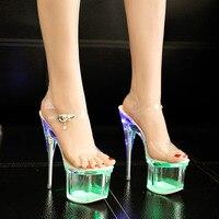 STAN SHARK Women Crystal 18/20cm Heels Nightclub Luminous Sandals Dance Shoes Crystal Waterproof LED Sandals