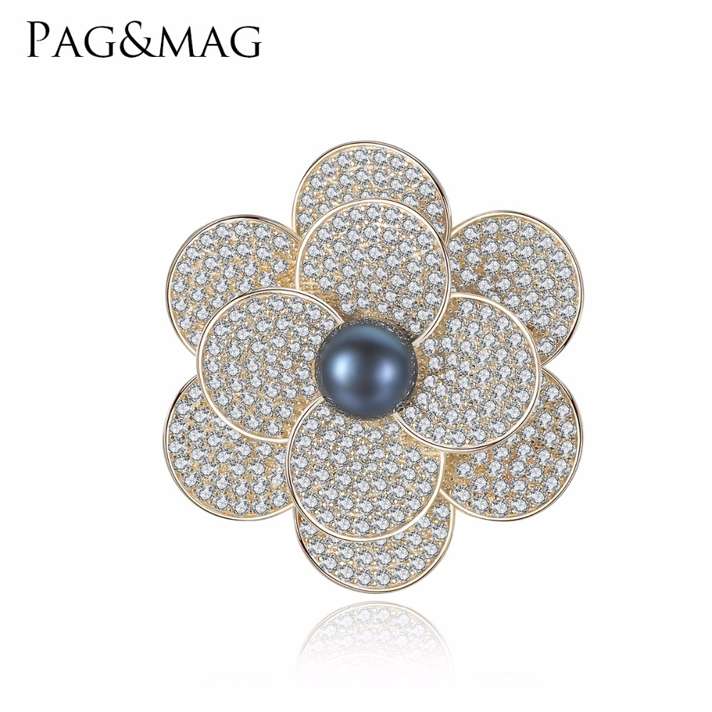 PAG&MAG Brand Shiny Sliver 925 Black Pearl Brooches & Pins Flower Shape Brooch For Women Vintage Scarf Clip Jewelry AccessoriesPAG&MAG Brand Shiny Sliver 925 Black Pearl Brooches & Pins Flower Shape Brooch For Women Vintage Scarf Clip Jewelry Accessories