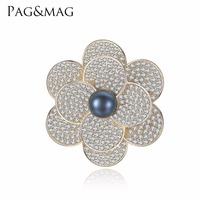 PAG&MAG Brand Shiny Sliver 925 Black Pearl Brooches & Pins Flower Shape Brooch For Women Vintage Scarf Clip Jewelry Accessories
