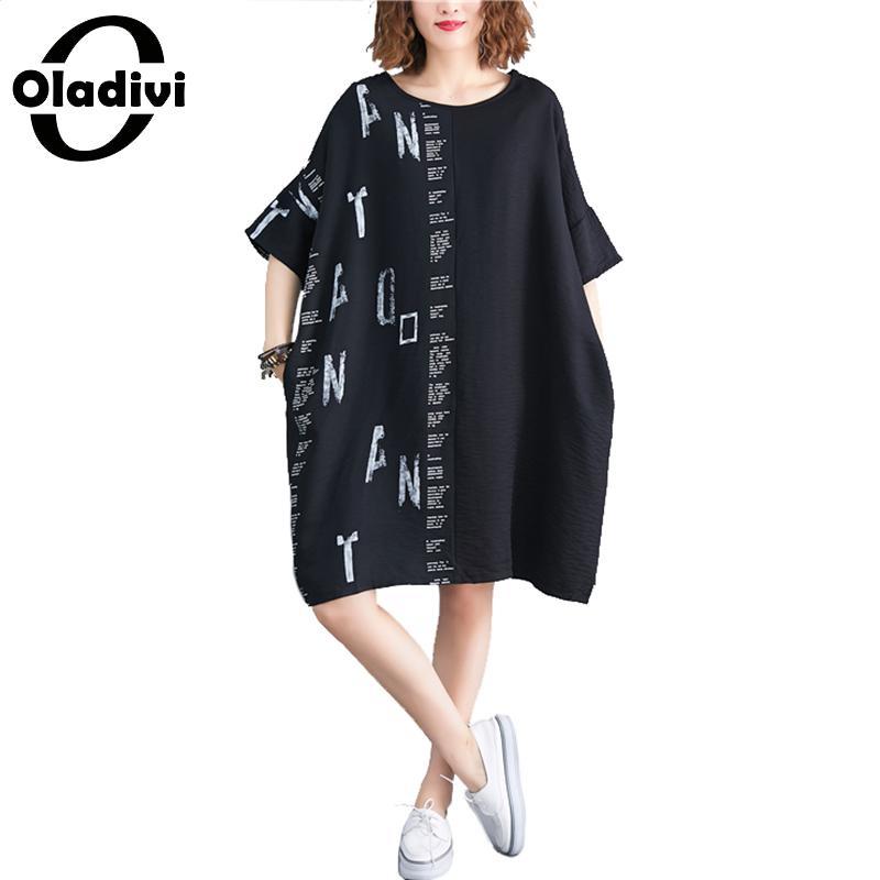 Oladivi Oversized Clothing For Woman Plus Size Summer Fashion Print Casual Shirt Dress Lady Cotton Linen Dresses Female Vestidos