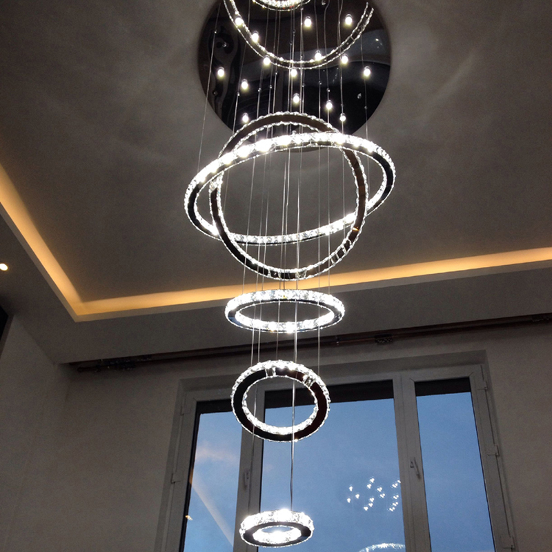 5 Rings Round Chandelier Crystal Ceiling Fixture Luxury Large Lighting Living Room Hotel Duplex House Villa Stairwell Lamp