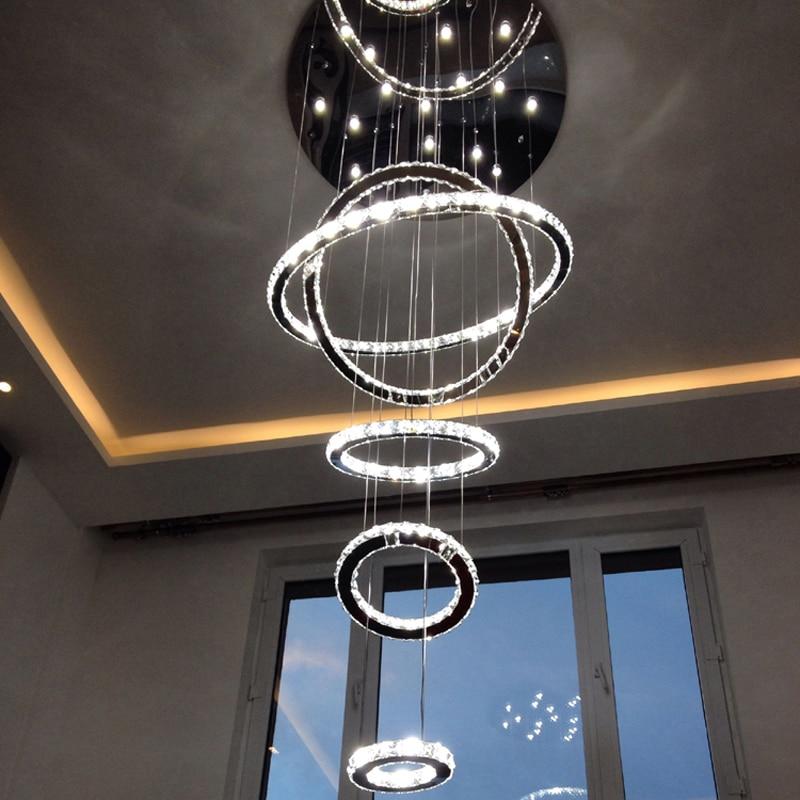 5 anelli Rotonda Lampadario di Cristallo di Fissaggio A Soffitto di Lusso di Grandi Dimensioni di Illuminazione Living Room Hotel Duplex Casa Villa Tromba Delle Scale Lampada