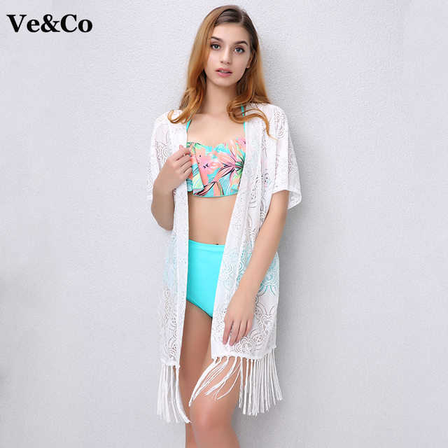 e014f88c86579 Ve Co New Pareo Beach Cover Ups 2018 Summer Beach Swimsuit Cover Up Women Sexy  Bikini Cover Up Cardigan Chiffon White Long Dress