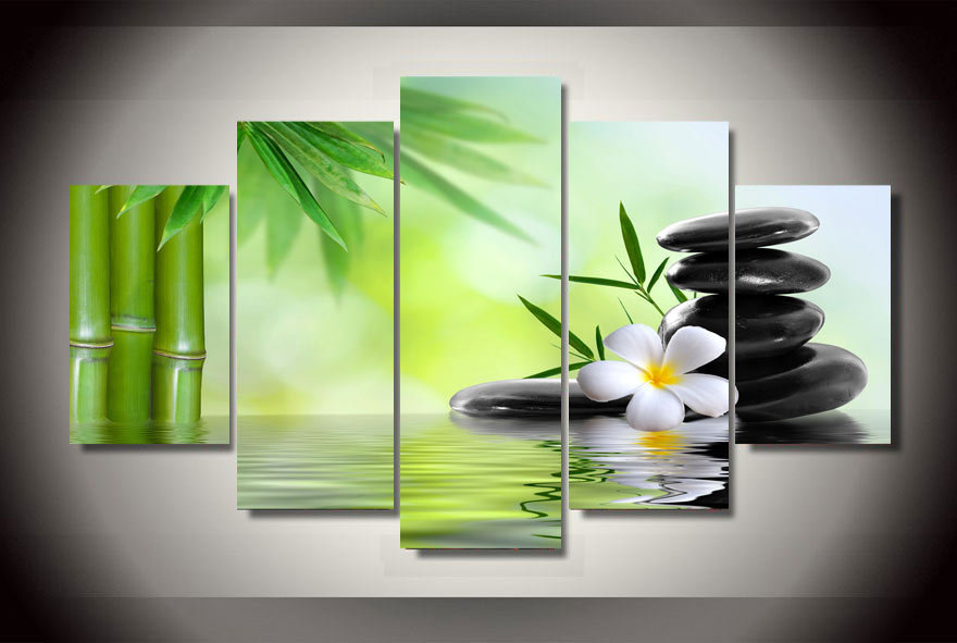5 Piece Framed Printed Bamboo Orchid Painting On Canvas Room Decoration Print Poster Picture Canvas Wuhaisu Gallery Painting