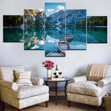 Home HD Printed Painting Pictures 5 Panel Wood Boat On Blue Lake Under Blue Sky Modern Wall Art Decor Posters Frame Living Room брюки sky lake sky lake mp002xb0079t