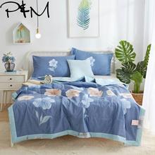 Papa& Mima, розовое стеганое одеяло с цветочным принтом, летнее стеганое одеяло, двухъярусное одеяло размера queen, хлопковое постельное белье, клетчатое покрывало