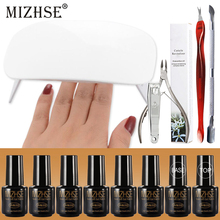 MIZHSE Nail Kit With 6W Lamp And Gel Polishes All For Manicure And Nail Design Torno Manicura Y Pedicura 7ML Primer Gel