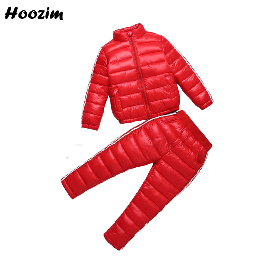 Winter Kids Tracksuit Fashion Jacket+Pants Children Pretty Black Sport Suit for Girls 6 7 8 9 Years Autumn Boys Clothing Set Red