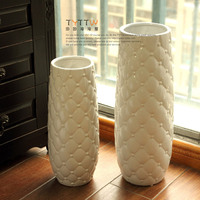 NEW Exquisite pineapple shaped ceramic glaze white ground vases,Pastoral style Home decoration high quality Handmade floor vase