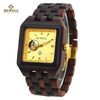 BEWELL мужской часы деревянные Брендовая Дизайнерская обувь роскошные деревянные кварцевые наручные часы с подарочной коробке Для мужчин ква