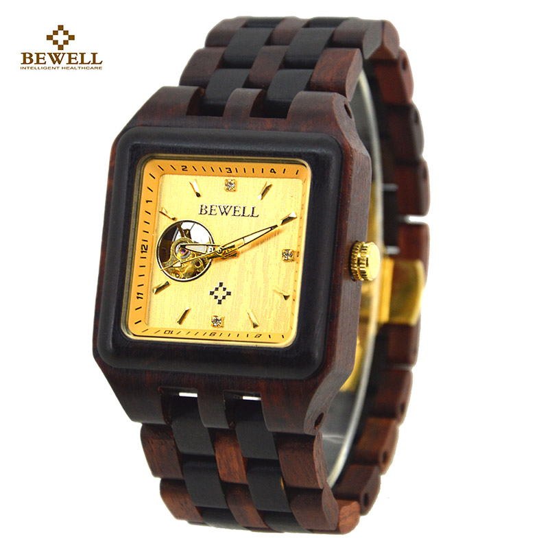 BEWELL Male Watch Wooden Brand Designer Luxury Wood Quartz Wristwatch with Gift Box Men Square Watches for Your Family 132A