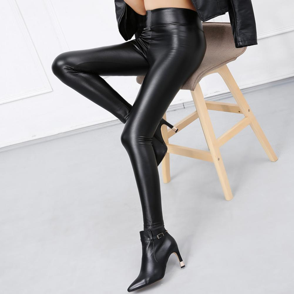 Women Skinny Faux Leather Stretchy Pants Tight Trousers Fashion Women Autumn Office Lady High Waist Trousers