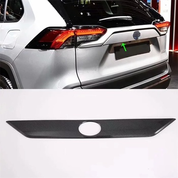 For Toyota RAV4 2019 2020 ABS Chrome/Carbon Fiber Style Car Styling Accessories Rear Trunk Tail Gate Lid Molding Cover Trim 1PCS