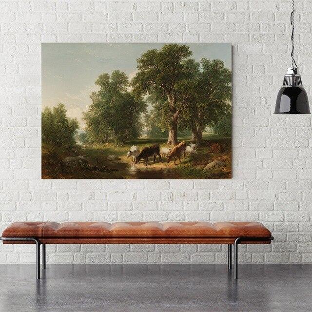 eau potable de buffalo paysage image simple vie campagne ferme peinture pour salle a manger decoration