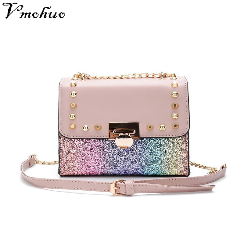 VMOHUO Women Rivet Flap Shoulder Bags Sequined Hasp Cossbody Bag For Female Shining Messenger Bag Chain Handbags bolsa feminina ...