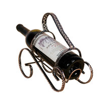 Iron Twisted Wine Racks Creative Chinese Style Bronze Wine Bottle Stand Metal Wine Holder Home Bar vino porte bouteille vin(China)