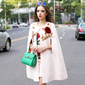 Street Twinset 2016 Autumn Winter New New Fashion Sleeveless Pink Rose Slim Mini Dress + Cloak Sequined Coat Luxury Sets