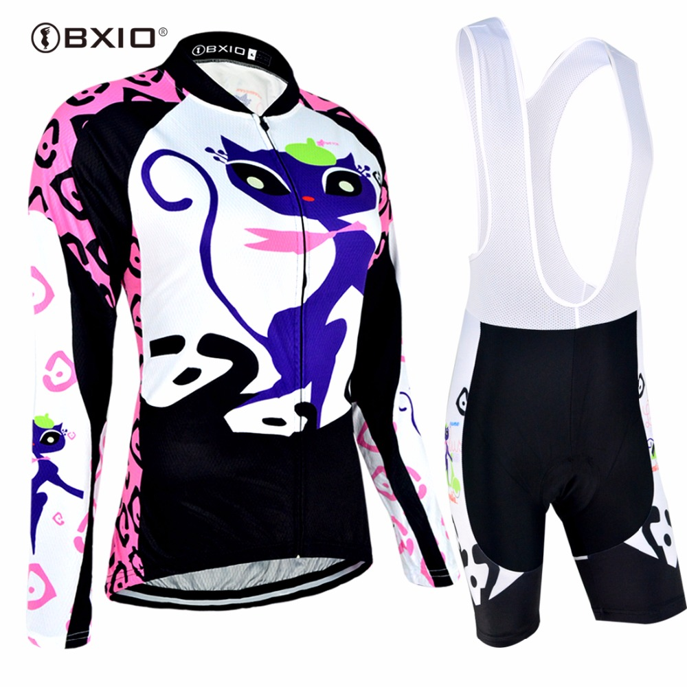цена на BXIO Women Cycling Sets Long Sleeve Ridding Wear Pro Team Funny Cat Bike Clothing Ladies Bicycle Clothes Ropa De Ciclismo 044