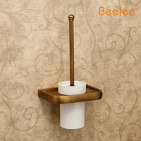 Beelee BA7404A Bathroom Lavatory Toilet Brush with Holder Wall Mount Brass Antique Wall Mounted Soild Brass Toilet Brush Holder