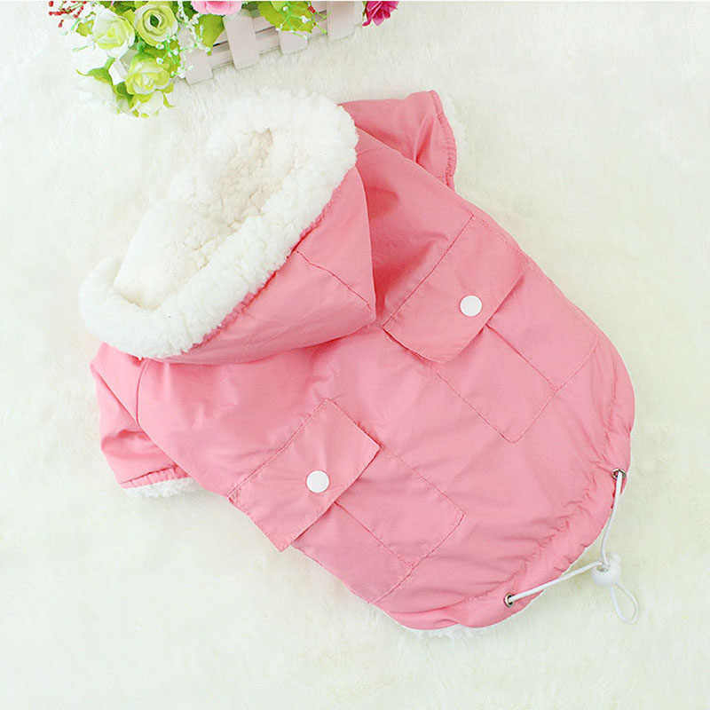 Leisure Cat Clothes Winter Pet Puppy Dog Cat Winter Jacket Warm Coat with Soft Fleece Lining Kitten Clothing Blue Red Pink Green