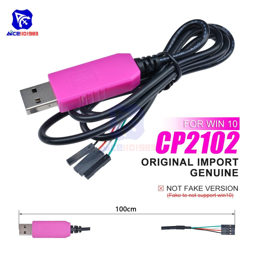 Оригинальные чипы CP2102, USB 2,0 к TTL, кабель для последовательной загрузки, 4-контактный последовательный конвертер для Arduino Raspberry Pi Win10/Mac OS X/Linux