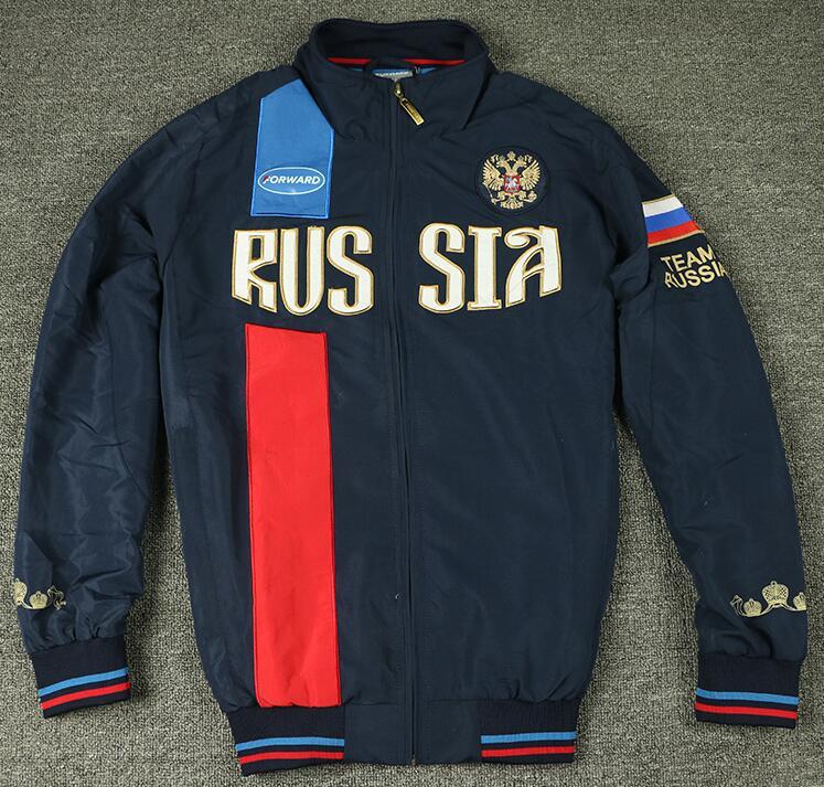 Mens Sport Russian National Team Forward Russia Eagle Jacket High Quality Male Full Pockets Coat Men