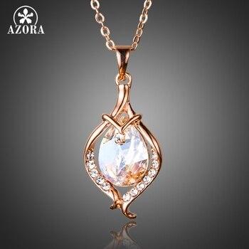 79df3d704351 AZORA romántico oro Color de rosa Stellux cristal austriaco corazón perla  Stud pendientes y colgante conjunto de joyas de collar TG0189