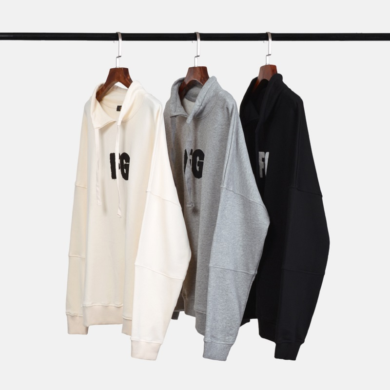 QoolXCWear High Street Cotton Sweatshirts FG Embroidery Loose Version Stand Collar Drawstring Hoodie  Men/women Hoodie