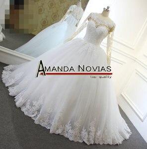 Image 4 - 2018 mais novo laço bola vestido de casamento vestido nude cor pele renda manga sem costas vestido de noiva