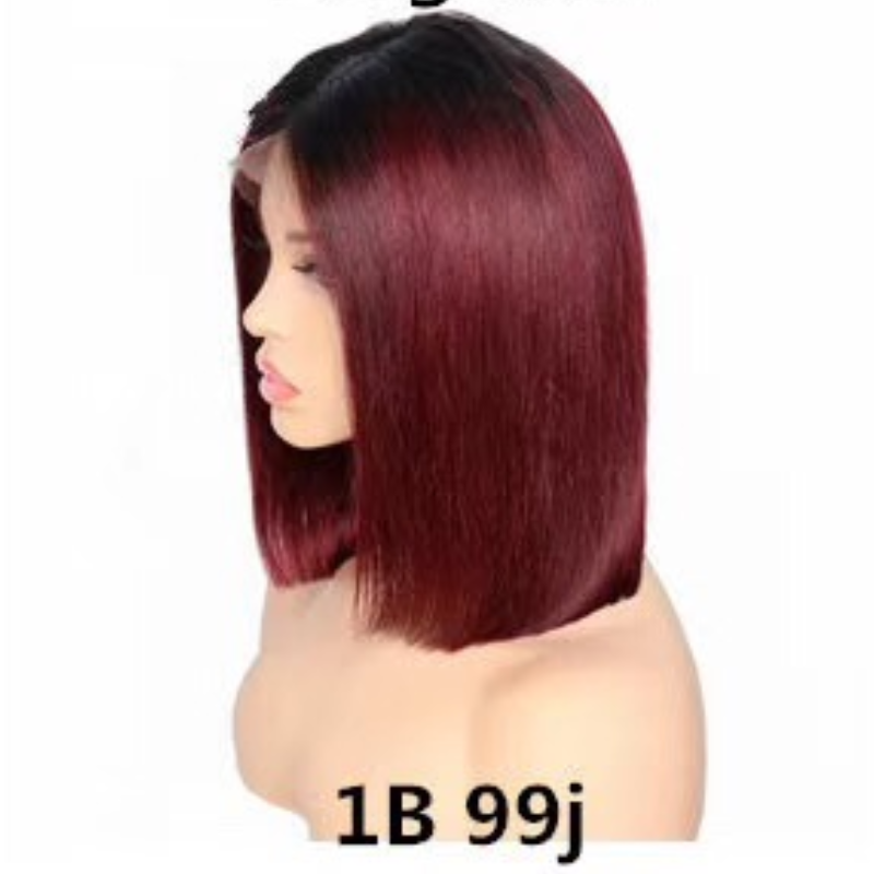 Free Shipping! Peruvian Human Hair Straight Bob Lace Front Wigs