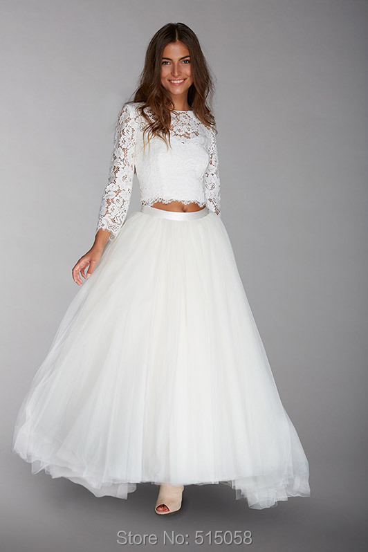 a3be9606c57d85 Hippies Style Two Piece Wedding Dresses 2017 Lace Long Sleeves Crop Top  With Tulle Skirt-in Wedding Dresses from Weddings & Events on  Aliexpress.com ...