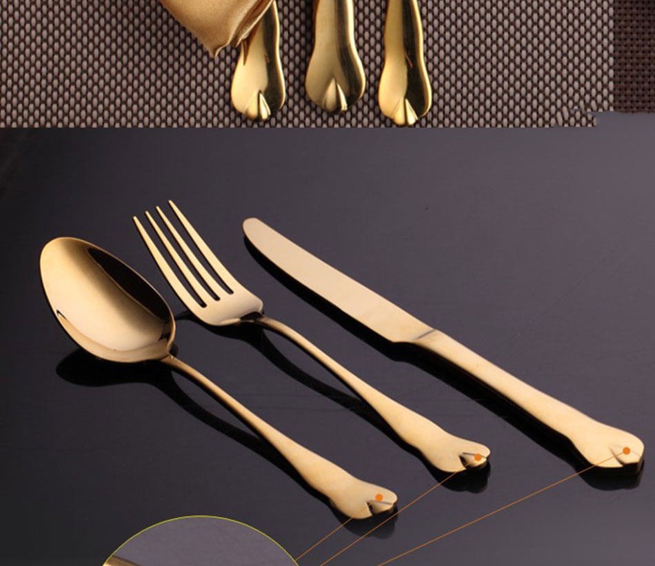 Luxury Gold Cutlery Set Stainless Steel Metal Dinnerware Set 3 Pieces Knife Fork Tableware Dining Dinner Western Food Kitchen (5)