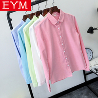 EYM Brand Blouse Shirt Women 2017 New Long Sleeve Ladies Tops Solid White Casual Oxford Plus Size Shirts Women's Clothing Blusas