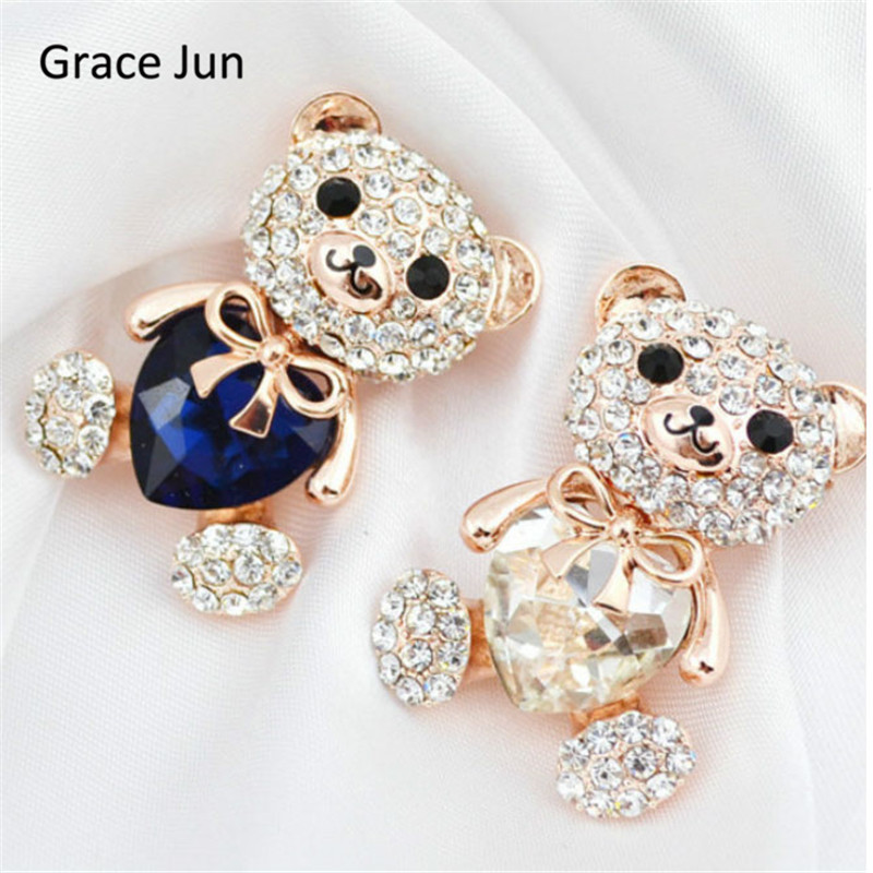 Grace Jun New Design 3 colors big crystal heart bear brooch cute animal pins and brooches for girls brooch jewelry good gift