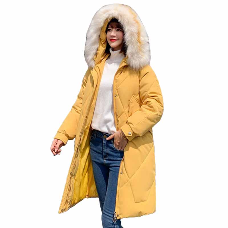 2019 Down cotton jacket Long Winter   Parkas   Women Plus size Hooded Fur collar Outerwear Female Thicken Cotton-padded Jackets G473