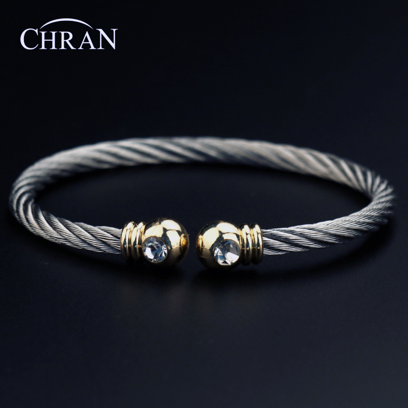 CHRAN Classic Brand Crystal Jewelry Silver Plated Men Women Stainless Steel Twisted Cabl ...