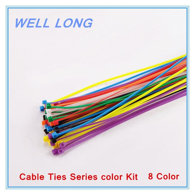 800 pcs lote 3 250mm fio de cabo de nylon lacos zip abracadeiras abracadeiras serie kit