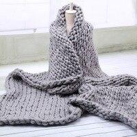 インテリアソフト太線ジャイアント糸ニット毛布手織の写真撮影の小道具毛布crochetllinenソフト編み毛