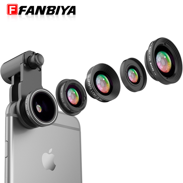 FANBIYA Mobile Phone Camera 5in 1 Lens 10x Macro Lenses 0.65x Wide angle 185 Fisheye Fish eye CPL Polarized 2.5x Telephone Lens