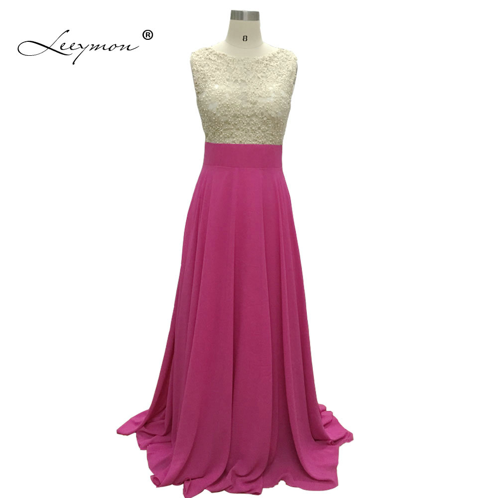 Leeymon Lace   Bridesmaid     Dress   Plus Size 2019 Hot Pink Chiffon Sleeveless vestido madrinha longo RE35