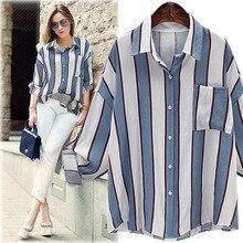 Fashion Women's Linen Blends Striped Full Sleeve Turn Down Collar Loose Casual Shirt Plus Size XL-5XL
