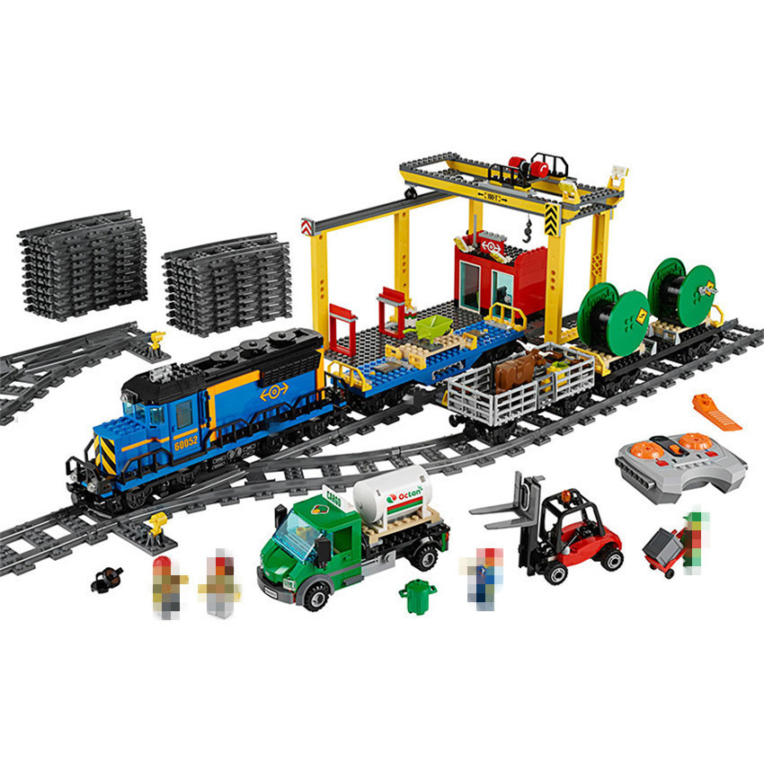 Lepin 02008 959Pcs City Explorers Cargo Train Forklift Truck Crane Remote Control Building Blocks Bricks Toys for Gifts 60052 цены