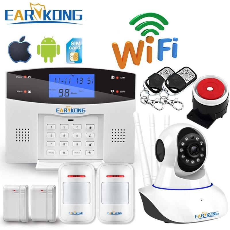 Wifi gsm casa sistema de alarme do assaltante 433 mhz detector alarme suporte linha telefone pstn & sim cartão voz intercom wi fi app relé