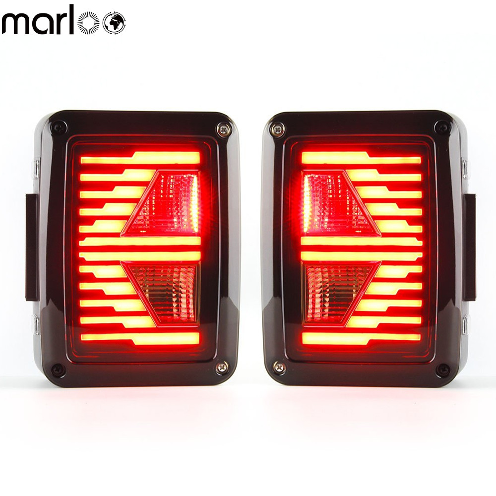 Marloo LED Tail Lights For 2007 2008 2009 2010 2011 2012 2013 2014 2015 Jeep Wrangler Brake Reverse Light Rear Back Up Light DRL for f150 raptor f 150 led tail light rear lights for ford 2008 2012 year smoke black sn